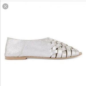 Topshop metallic leather braided sandals